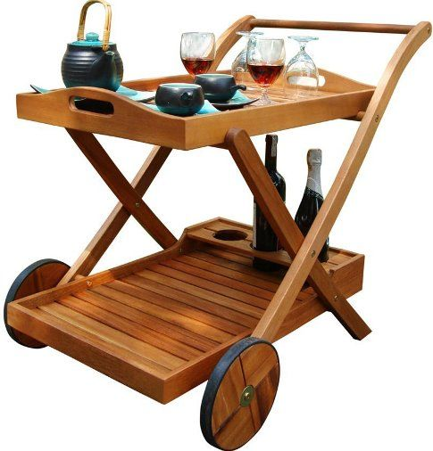 Wood Serving Cart ~ Vifah v hana serving cart gorgeous wood outdoor