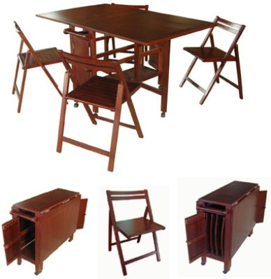 VIFAH V62 Indoor Antique Hideaway Table And Chairs One Folding Table And Fou