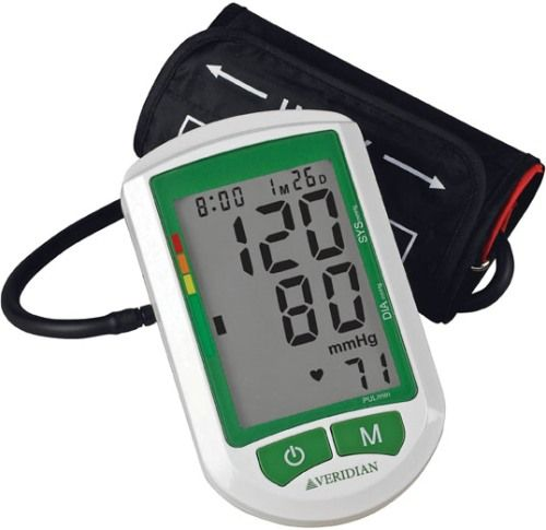 Veridian Healthcare 01-514 Jumbo Screen Premium Digital Blood Pressure Arm Monitor, Adult, Oversize, easy-to-read backlit display, Clinically accurate readings, Displays systolic, diastolic and pulse readings simultaneously with date and time stamp, 2-person memory bank stores up to 120 readings, 60 readings for each user with average of last 3 readings, UPC 845717002776 (VERIDIAN01514 01514 01 514 015-14)