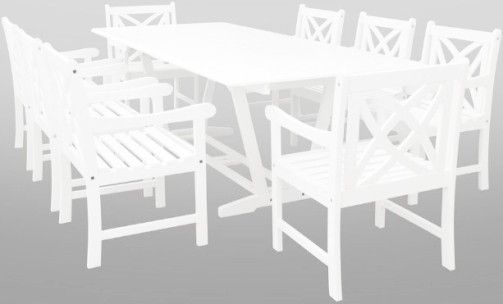 VIFAH V1334SET12 Bradley Eco Friendly 9 Piece Outdoor White Hardwood Dining  Set, Natural Wood Finish; Includes (1) V1334 Rectangle Extention Table +  (8) ...