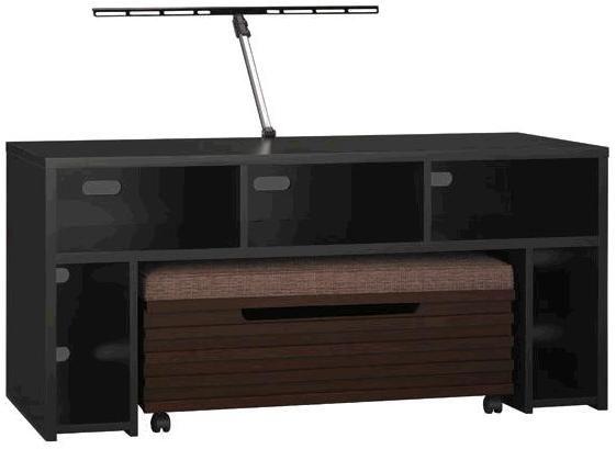 "Bush VS80950-03 Roam 58"" TV Stand with Storage Bench in Black, TV"