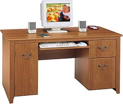 Bush WC01718 Computer Desk, Concealed Vertical CPU Storage, Box Drawer For  Office Supplies, File Drawer That Holds Letter Files, Full Width Keyboard  Shelf ...