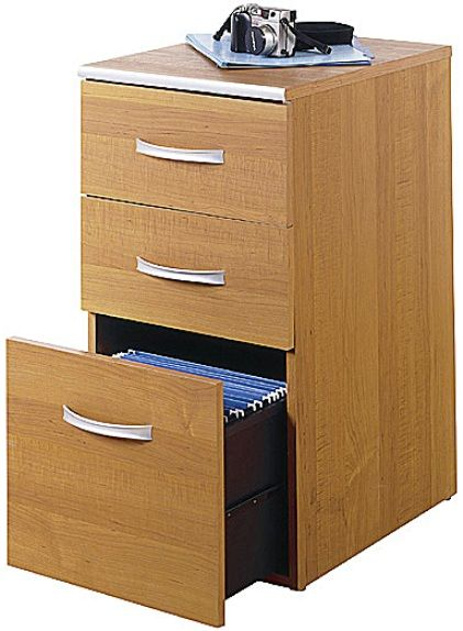 Bush Wc02453 03 Office Revolution Three Drawer File Cabinet In Maple Two Box Drawers And One Letter Size Matches Desk Height Serves As