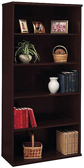 Bush WC12914 Open Double Bookcase, Series C Mocha Cherry, 5-Shelf, Mocha Cherry Finish, Two fixed shelves for stability, Three adjustable shelves for flexibility, Matches 71