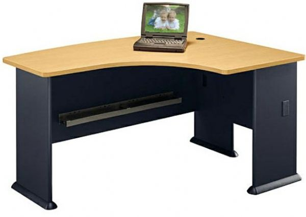 Bush WC14322 Right L-Bow Desk, Collection Series A Beech, Savannah Beech Finish, Accepts Universal or Articulating Keyboard Shelf, Forms L or U-shaped configurations in combination with other desks, L-Bow desk allows user to face approach side while keyboarding, as well as computer screen privacy (WC-14322 WC 14322)