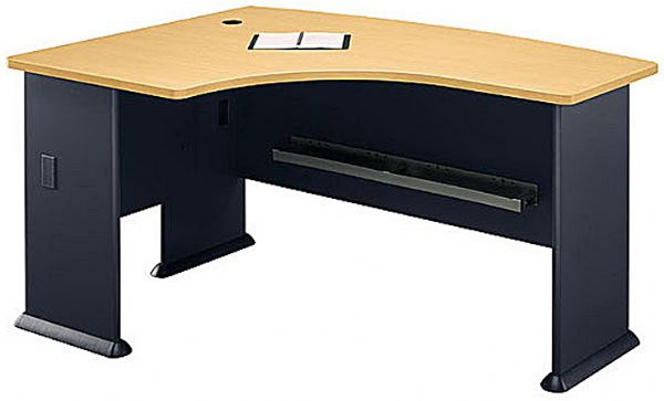 Bush Wc14333 Left L Bow Desk Office Furniture 1 Thick Top Surface Accepts Universal Or Articulating Keyboard Shelf U Shaped Configurations
