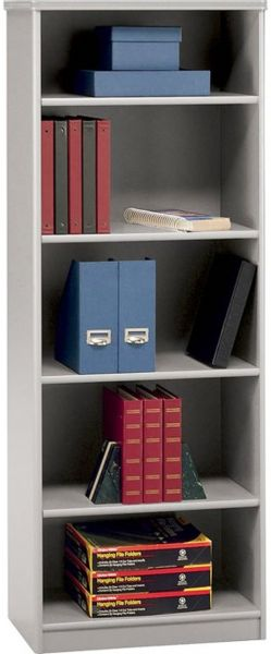 Bush WC14565 Five Shelf Bookcase, Pewter, Two fixed shelves for stability; Three adjustable shelves for flexibility; Height matches Advantage Hutches (WC 14565 WC-14565)