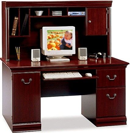 Bush Wc26620 03 Birmingham 60 W Cherry Executive Desk With Hutch Durable Work Surface Is Scratch And Stain Resistant Retracting Keyboard Mouse Shelf