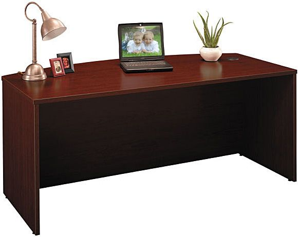 bush wc36746 bow front desk mahogany two 3drawer 2drawer or 34 pedestals wc - Mahogany Desk