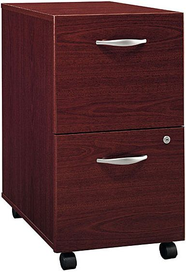Bush WC36752 Two-Drawer File, Collection: Series C: Mahogany, Casters allow easy mobility, File fits under desks, Each drawer holds letter, legal and A4-size files (WC-36752 WC 36752)