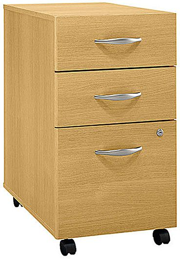 Bush WC60353 Three-Drawer File - Light Oak, Corsa Series C Collection, Rolls under any Series C desk shell, File drawer holds letter, legal or A4 files, Fully finished drawer interiors, File drawer extends on full extension, ball-bearing slides (WC-60353 WC 60353)