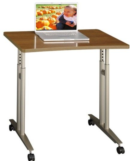 Bush WC67582 Series C Warm Oak Mobile Work Table, Durable Scratch And Stain  Resistant Work