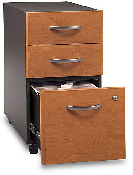 Bush WC72453SU Three-Drawer File - assembled, Collection: Series C: Nat Cherry, Finish: Natural Cherry, File drawer holds letter-, legal-or A4-size files, 15.709