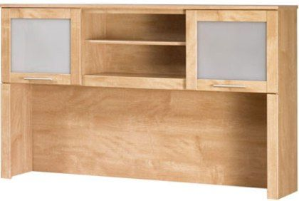 bush wc8143103 somerset hutch for 60 inch l shaped desk open for storage frosted glass doors mounts to the left or right side of the l
