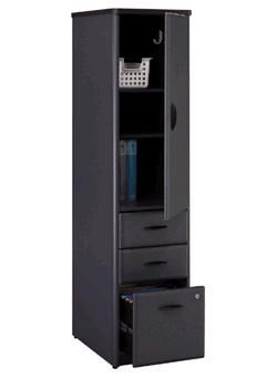 Bush WC84875 Vertical Locker, Series A Slate Collection, Two box and one letter-size file drawer in bottom half of unit Two adjustable/removable shelves and coat hook in top storage area (WC-84875, WC 84875)