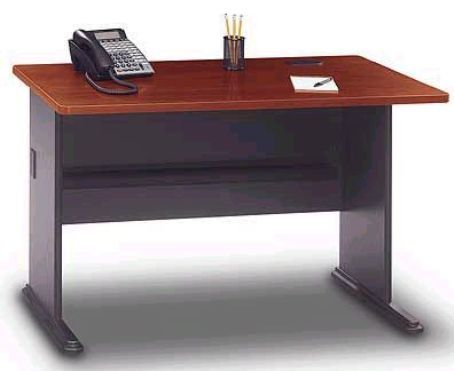 Bush Wc90448a Series A 48 Office Desk Hansen Cherry Finish Durable Melamine Surface Resists Scratches And Stains Sy Molded Abs Feet With Steel