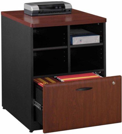 Bush WC94423 Series A Hansen Cherry Storage Cabinet, 4 Cubbies For Storage,  Lockable File Drawer For Extra Security, Lateral File Drawer Holds Letter,  ...