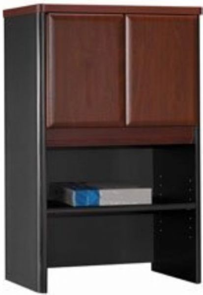Bush Wc94425 Series A Hansen Cherry Storage Cabinet Hutch Upper Area Is Concealed By 2 Doors