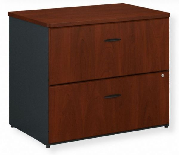 Bush Furniture WC94454P Series A 36W 2 Drawer Lateral File Cabinet, Hansen Cherry Finish; Drawers hold letter, legal or A4-size files; Interlocking drawers reduce likelihood of tipping; Gang lock with interchangeable core affords privacy and flexibility; Full-extension, ball bearing slides allow easy file access; GSA Approved; Assembled Dimensions 35.67