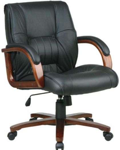 Office StarWD5361 Mid Back Leather Desk Chair With Cherry