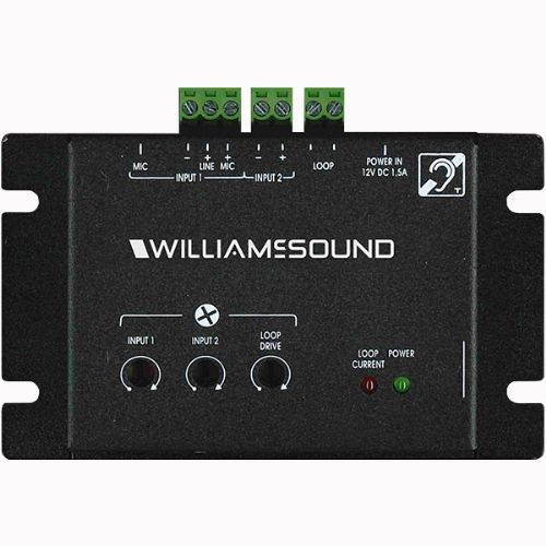 Williams Sound DL102 Counter Loop 2 Amp RMS Output, With Surface Microphone; Audio input: 3 (1 microphone or line input, isolated line input, Mic); Connector type: 3.5mm jack, Mic-2 pole line in, 3 pole line in, Mic in; Constant current amplifier type; Greater-Than 60 dB dynamic Range; Dimensions (HxLxW): 2.30