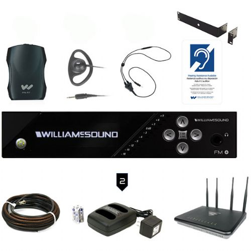 Williams Sound FM 557 PRO D WAP FM Plus Large-Area Dual FM And Wi-Fi Assistive Listening System With 4 Receivers, Dante Input, Coaxial Cable, Access Point And Rack Panel Kit For Professional Installation; Professional audio inputs: 1/4