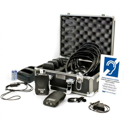 Williams Sound FM ADA KIT 37 RCH Rechargeable FM ADA compliance kit for one presenter and up to four listeners, Includes, 1 Transmitter, 4 FM Receivers, 1 Conference Microphone, 1 Mini Lapel Clip Microphone, 4 Headphones, 1 Drop-In Charger Kit, 5 Rechargeable Batteries, 2 Neckloop, 1 ADA Wall Plaque, 1 System Carry Case; Simple set-up and operation; PPA T36 transmitter; 150' operating range (WILLIAMSSOUNDFMADAKIT37RCH WILLIAMS SOUND FM ADA KIT 37 RCH ADA COMPLIANCE KIT)