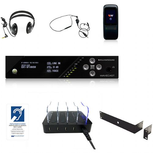 Williams Sounds WF SY5 PRO-3 Wi-Fi Assistive Listening System With 3 Wi-Fi Receivers, System Includes, 1 Transmitter, 3 Receivers, 3 Receiver Skins, 1 4-Slot Charger, 3 Headphones, 2 Neckloops, 1 Rack Panel Kit, And 1 Wall Plaque; Audio presets hearing assistance, music, voice and custom; Professional audio DSP architecture (WILLIAMSSOUNDWFSY5PRO3 WILLIAMS SOUND WF SY5 PRO-3 WF-SY5-PRO-3 SYSTEM ASSITIVE LISTENING SYSTEM)