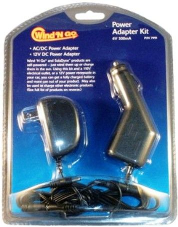 Wind 'N Go 7991 Power Adapter Kit, Black, Input AC 120V, 60 Hz, DC 12V, Output 6V DC ~ 300 mA, Positive polarity, Tip size 3.4 mm O.D. x 1.3 mm I.D., AC/DC power adapter is UL Listed, DC power adapter has a replaceable fuse and power indicator light, Weight 0.67 lbs, Price Each, UPC 769372079914 (WINDNGO WINDNGO7991 WINDNGO-7991 07991 Wind'N Go Wind'Ngo WindNGo Wind N Go Wind And Go Wind & Go Wind&Go)