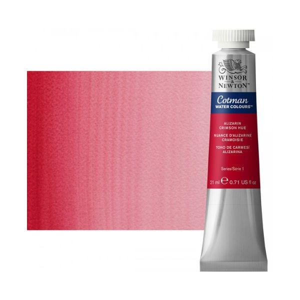 Winsor & Newton 0308003 Cotman, Watercolor  Alizarin Crimson Hue 21ml; Unrivalled brilliant color due to a revolutionary transparent binder, single, highest quality pigments, and high pigment strength; Genuine cadmiums and cobalts; Cotman watercolors offer optimal transparency with excellent tinting strength and working properties; Dimensions 0.79