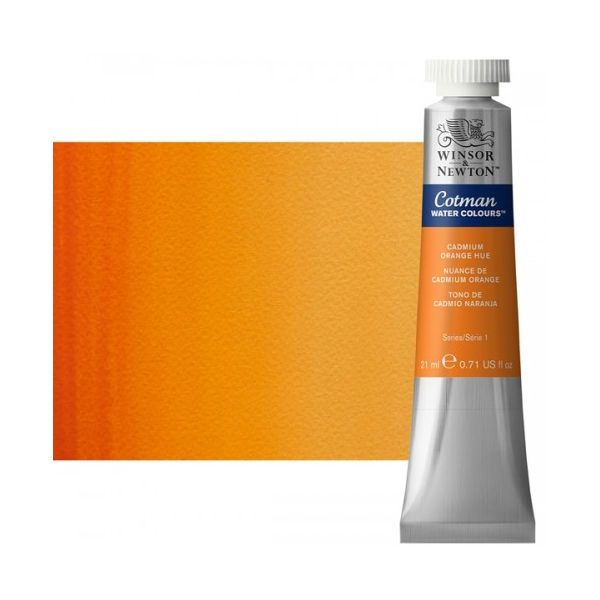 Winsor & Newton 0308090 Cotman, Watercolor  Cadmium Orange Hue 21ml; Unrivalled brilliant color due to a revolutionary transparent binder, single, highest quality pigments, and high pigment strength; Genuine cadmiums and cobalts; Cotman watercolors offer optimal transparency with excellent tinting strength and working properties; Dimensions 0.79