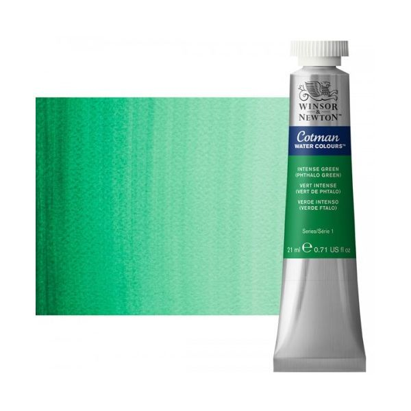Winsor & Newton 0308329 Cotman, Watercolor Intense Green 21ml; Unrivalled brilliant color due to a revolutionary transparent binder, single, highest quality pigments, and high pigment strength; Genuine cadmiums and cobalts; Cotman watercolors offer optimal transparency with excellent tinting strength and working properties; Dimensions 0.79