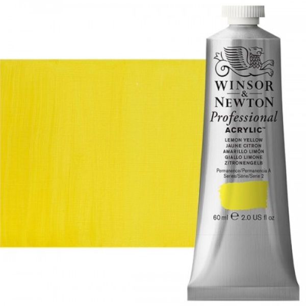 Winsor & Newton 2320346 Artists, Acrylic Color 60ml Lemon Yellow; Unrivalled brilliant color due to a revolutionary transparent binder, single, highest quality pigments, and high pigment strength; No color shift from wet to dry; Longer working time; Smooth, thick, short, buttery consistency with no stringiness; Dimensions 1.13
