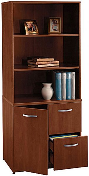 Bush WL24402 Universal Wall Systems Hansen Cherry Storage Cabinet,  Adjustable Shelf Behind Cabinet Door, 3 Shelves In The Upper Level With 2  Adjustable, ...