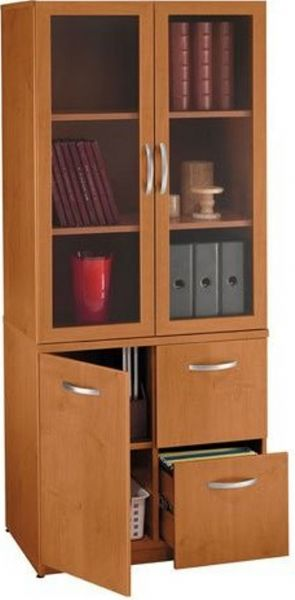 ... Storage Cabinet 2 adjustable shelves in the upper storage area Punch outs in the back panel for cable management 2 file drawers accommodate letter ... & Bush WL72402 Universal Wall Systems Natural Cherry Storage Cabinet ...