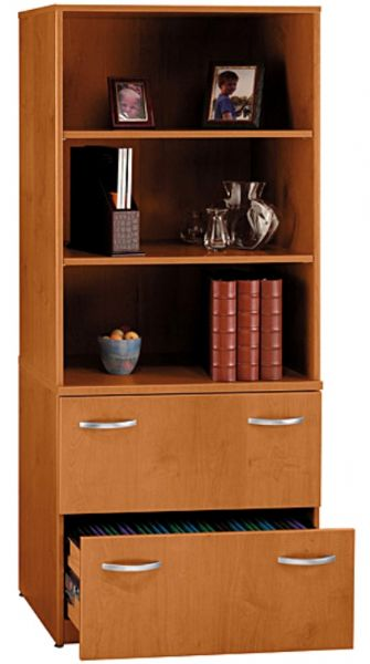 Beau Bush WL72404C Natural Cherry Storage Shelf With Double Lateral File, Two  Lateral File Drawers, Locking File Drawers, File Drawers, Optional Double  Glass ...