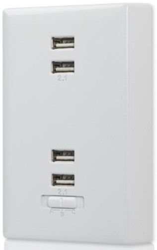RCA WP4UWF 4-port USB Wall Plate Charger; Converts any standard 110V ...
