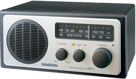 Sangean WR-1 Analog AM/FM Wooden Cabinet Table-Top Radio, Black, Soft and Precise Tuning, Rotary Tuning and Volume Controls, Internal/External Antenna Selector Switch, Tuning LED Indicator, Headphone volume control, Soft and Precise Tuning (WR1B WR_1 WR 1 WR1 WR1BLK WR1BLACK WR1-BLK WR-1BLK)