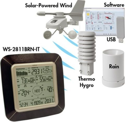 La Crosse Technology WS-2811BRN-IT Professional Weather Station with Wind, Rain, Weather and PC Software, -40°F to +139.8°F Indoor temperature range, -40°F to +139.8°FOutdoor temperature range, 1% to 99% Indoor humidity range, 1% to 99% Outdoor humidity range, 0 to 111.8 mph Wind speed / gust, -40°F to +139.8°F Wind chill, 0
