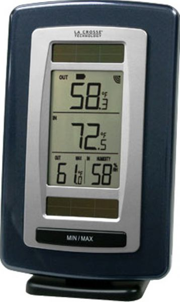 La Crosse Technology WS-6020U-IT Solar Powered Wireless Temperature Station and Sensor, 200 FT Wireless transmission range, 16°F to 140° Indoor, -39.2°F to 139.8°F Outdoor Temperature range, 20% to 95% RH Indoor Humidity range, LCD toggles temperature readings, Transmits outdoor temperature, Outdoor/Indoor temperature with MIN / MAX records °F, Indoor humidity, UPC 757456988412 (WS6020UIT WS-6020U-IT WS 6020U IT)