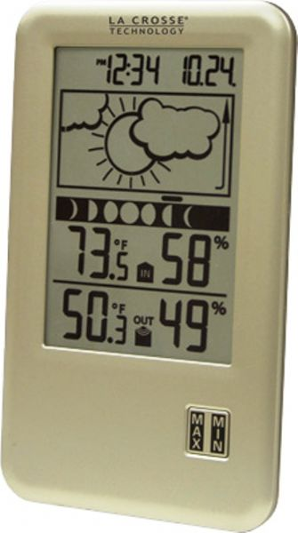 La Crosse Technology WS-9060U-IT Wireless Forecast Station with Moon Phase, Weather forecasting function with 3 weather icons and weather tendency indicator, 8 Moon phases, IN/OUT temperature with MIN/MAX records °F/°C, IN/OUT humidity %RH, 12/24 Hour time display, Low battery indicators, Desktop or wall hang , 260 Ft. transmission range, Up to 12 month battery life, UPC 757456987293 (WS9060UIT WS-9060U-IT WS 9060U IT)