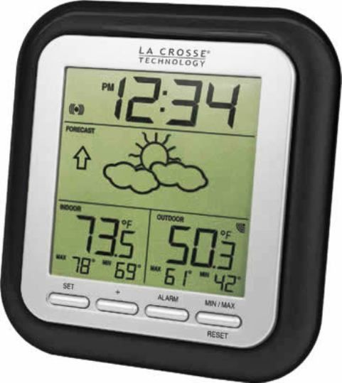 La Crosse Technology WS-9133BK-IT Wireless Weather Station with Forecast, Up to 330 feet Transmission range, 915 MHz Transmission frequency, -39.8°F to +139.8°F ; -39.9ºC to +59.9ºC Wireless outdoor temperature range, 14.2ºF to +99.9ºF ; -9.9ºC to +37.8ºC Indoor temperature range, MIN/MAX value of IN and OUT temperature, Barometric tendency arrow, 12 / 24 hour time display, UPC 757456989808 (WS9133BKIT WS-9133BK-IT WS 9133BK IT)