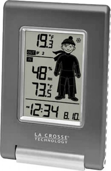 La Crosse Technology WS-9640U-IT Wireless Temperature Station with Oscar Outlook, 330 Feet Transmission Range, 14.1°F to 139.8°F ; -10°C to +59.9°C Indoor Temperature Range, -39.8°F to +139.8°F ; -39.9°C to +59.9°C Outdoor Temperature Range, 1 - 99% Indoor Humidity, 7 Icons- suggest what to wear based on OUT temperature, MIN/MAX Temperature & Humidity, Atomic Time & Date Set Automatically, UPC 757456991559 (WS9640UIT WS-9640U-IT WS 9640U IT)