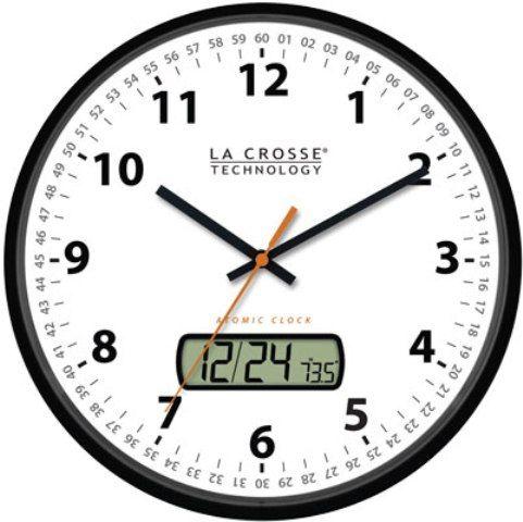 La Crosse Technology Wt 3128u Bk Model Black Atomic Wall Clock With Date Display 12 Diameter Time Manual Setting World