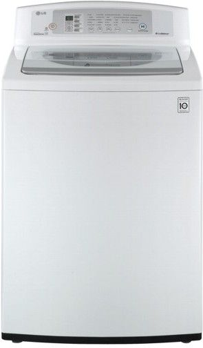 lg wt4801cw high efficiency electric top load washer white 37 cuft doe large capacity with neverust stainless steel drum direct drive motor
