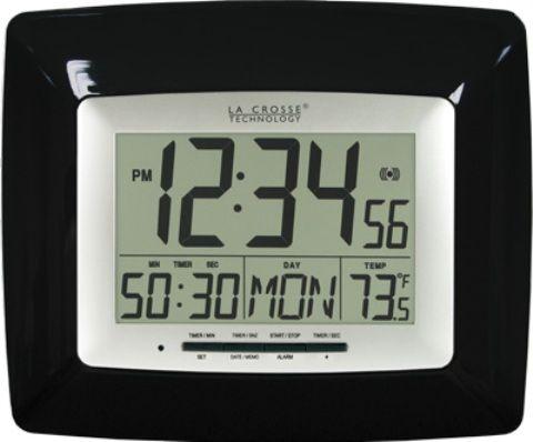 La Crosse Technology WT-8100BK Black Digital Clock with Timer ...
