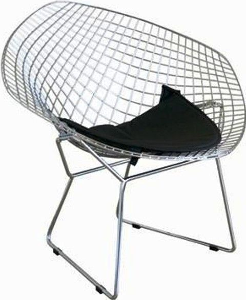 Great Wholesale Interiors 8300 Bertoia Style Diamond Wire Chair, Durable Black  Leatherette Upholstered Seat Pad, Sleek, Curved Steel Wire Mesh Frame In  Chrome ...