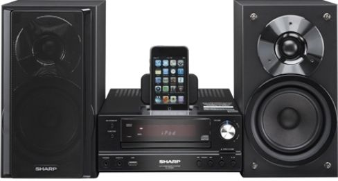 sharp xl hf200p micro system with iphone ipod cradle. Black Bedroom Furniture Sets. Home Design Ideas