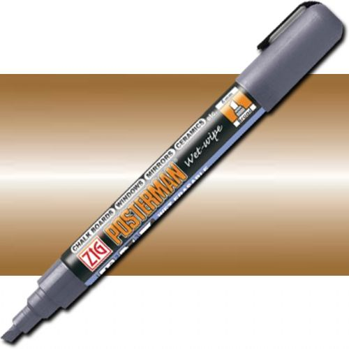Zig PMA-550-123 Wet Erase Board Marker Metallic Brown; Wet erase markers suitable for various surfaces such as chalkboards, windows, mirrors, ceramics, etc; Broad 6mm chisel tip is great for writing steady, wide lines; Water-based pigment ink is high opacity, lightfast, odorless, and xylene-free; Metallic Brown; Dimension 0.79