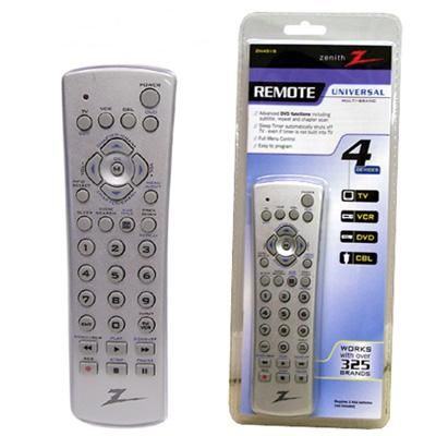 zenith zn401s universal remote 4 in 1 operates tv vcr dvd cable rh salestores com Old Zenith Universal Remote Codes Zenith Remote Programming